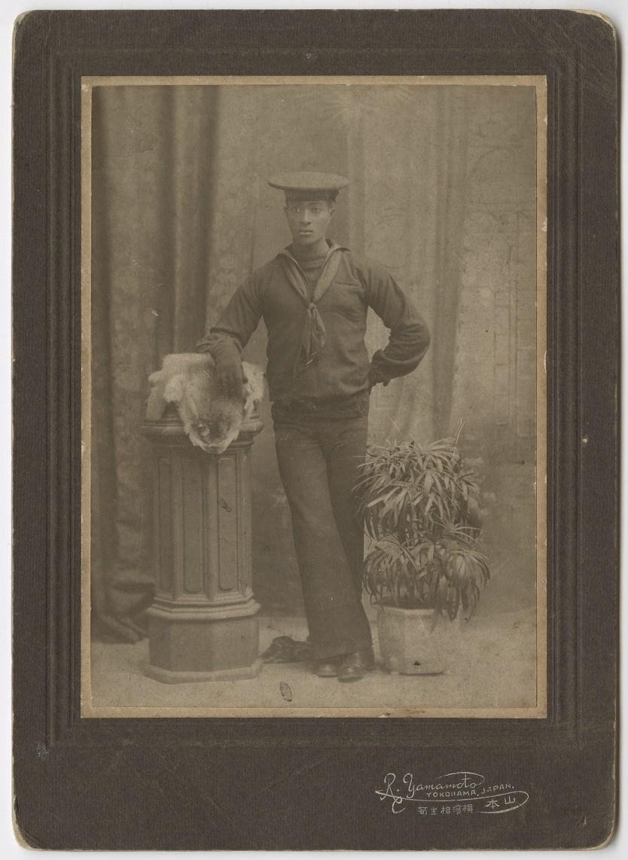 Studio of R. Yamamoto, Yokohama, Japan U.S. Sailor Earnest Estens, of the U.S.S. South Dakota, early 20th Century Cabinet card, Accession no. P2016-01-014
