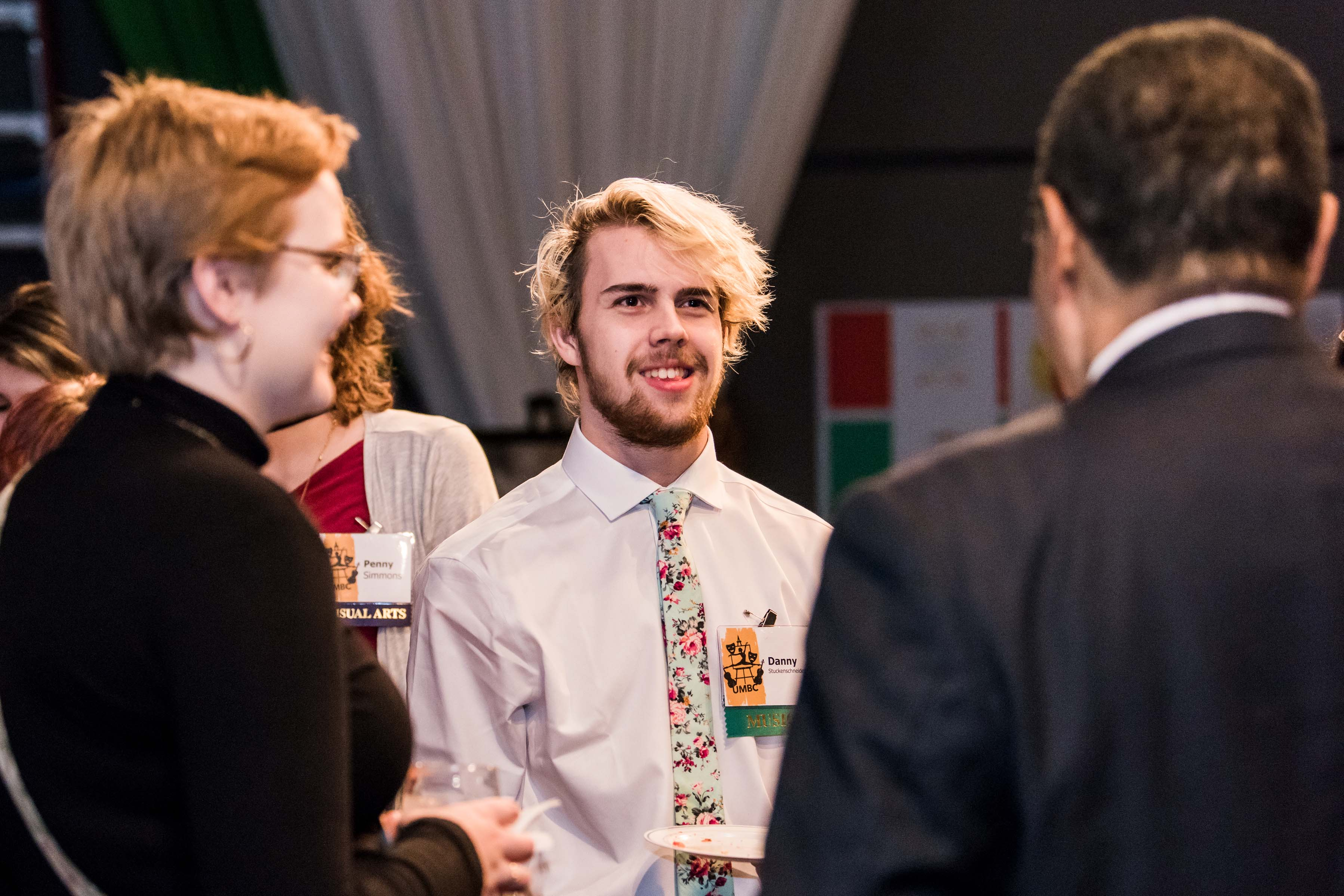 Hrabowski talks to students at Linehan reception