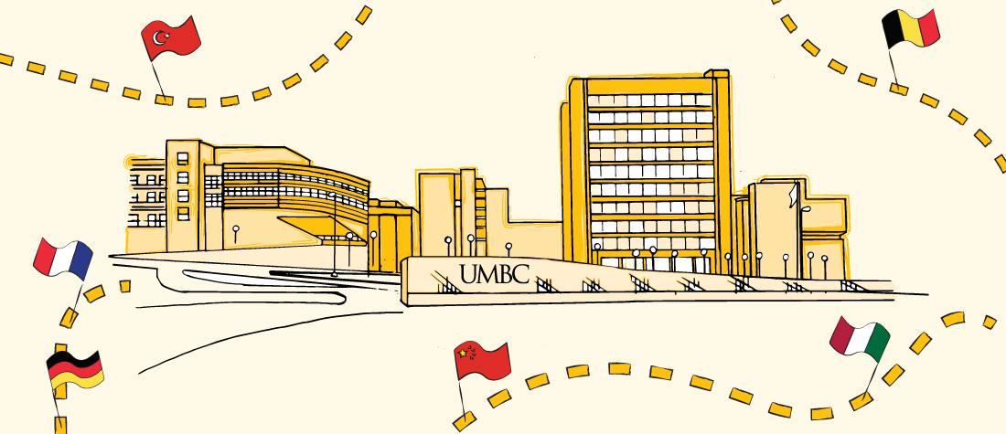 illustration of UMBC with flags all around the edges