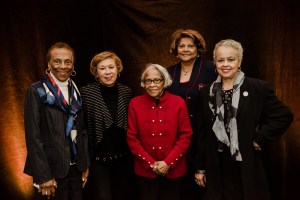 Group of black women pose together at scholarship luncheon
