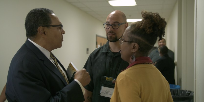 Dr. Hrabowski speaks with Keynote speaker Dr. Eric Grollman and Lisa Gray, UMBC's Associate Director of Diversity and Inclusion.