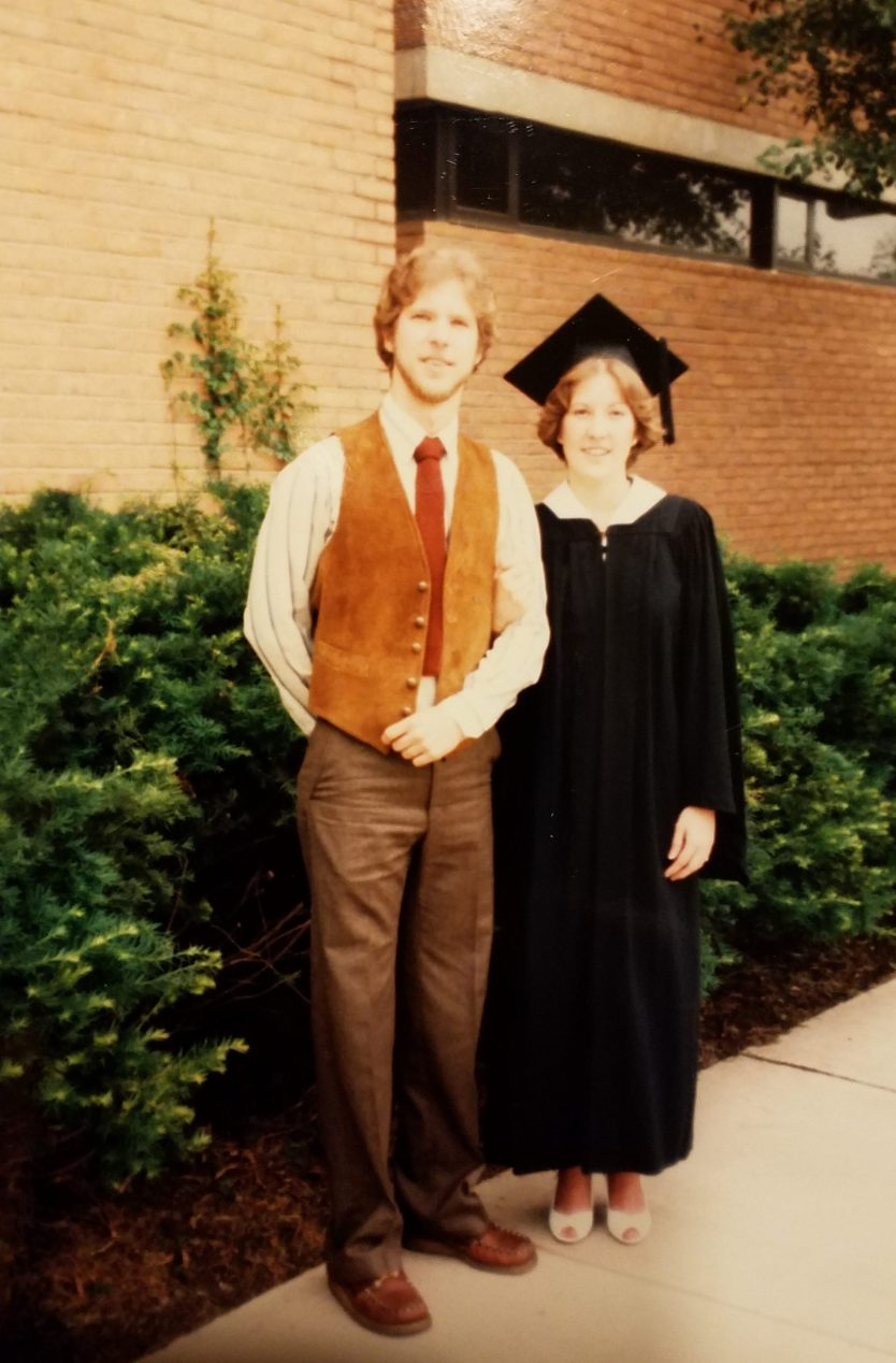 Kim with her brother on graduation day 1982. Photo courtesy of the Stadtler family.
