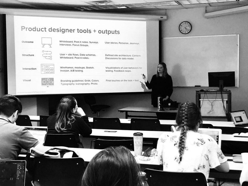 Kelsey Krach guest lecturing on human-centered design at a local university.