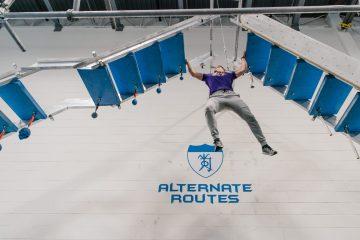 Daniel Eiskant training high in the air in parkour gym