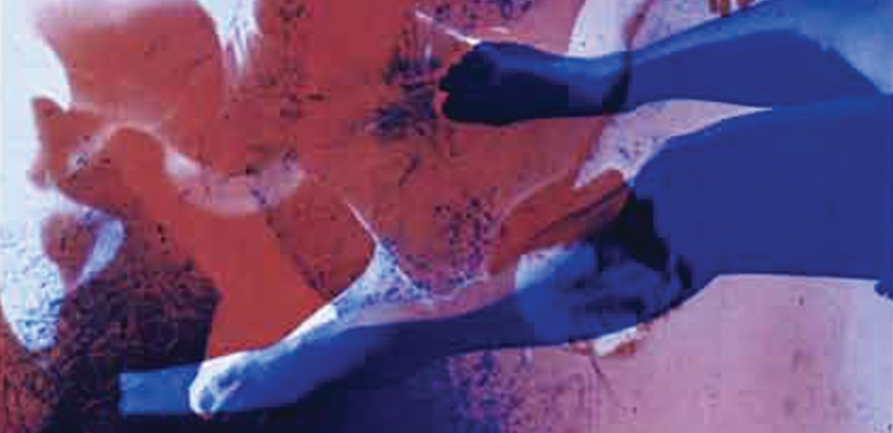 close up of blue red and white painting