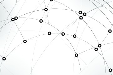 A series of dots connected by multiple lines