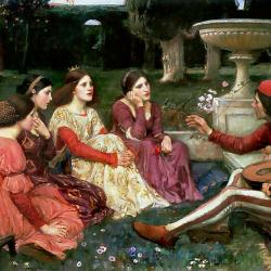 Medieval painting of a group of women sitting in a garden listening to a man play a lute