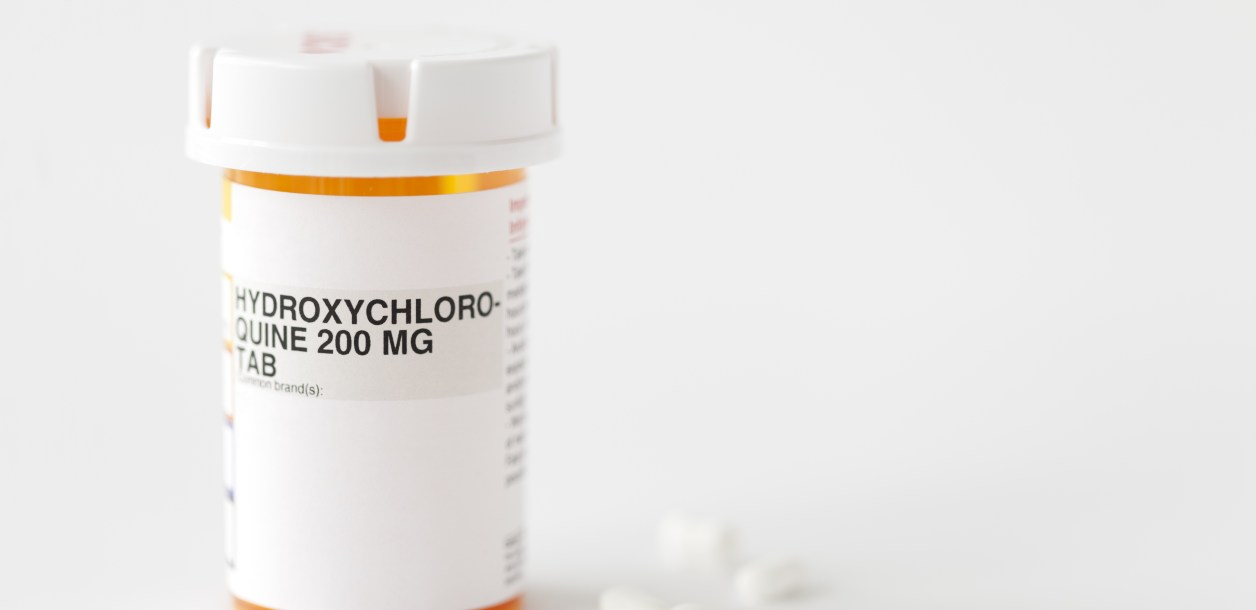 Close up of pill bottle of hydroxchloroquine
