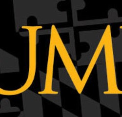 UMBC logo on background of black and gray Maryland flag pattern