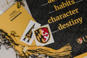 Commencement poster, pamphlet and tassel sent to UMBC 2020 graduate