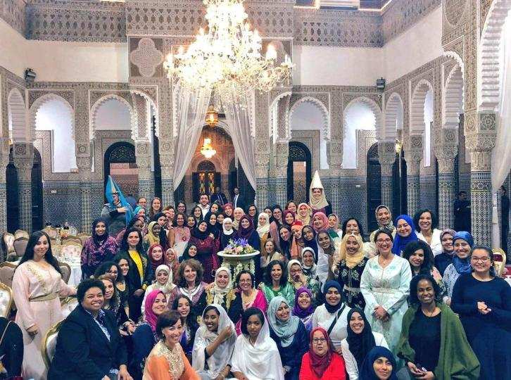 Photo of large group of women in Saudi Arabia, all of whom belong to Ashwag Alasmari's online Women in Computing in Saudi Arabia community.