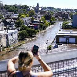 Flooding is seen in the Manayunk section of Philadelphia after the remnants of Hurricane Ida, Sept. 2, 2021.