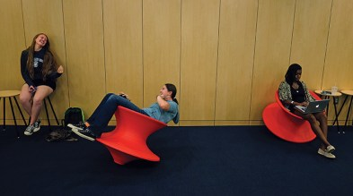 Gravity-defying chairs offer students an adrenaline rush between classes.
