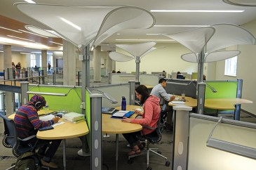 Quiet concentration is possible at the Convergence Center, thanks to thoughtfully designed study spaces.