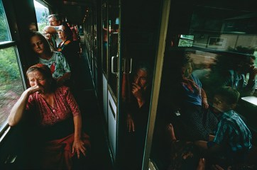 """Bosnian Muslim women, children, and elderly people boarded trains and buses headed for temporary refuge in Germany and Austria as the men were forced to stay and fight the Serbs. """"They fled not knowing if they would ever see their husbands, brothers, and sons again,"""" Pinneo said."""