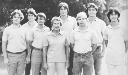 Dan Wolfe, center back, played on the Mary Washington golf team under the late coach Mildred Droste, center front, as pictured in the 1982 Battlefield yearbook.