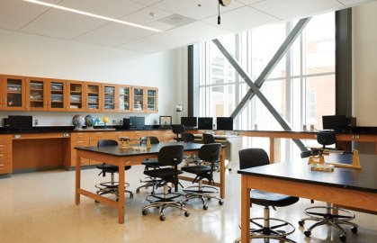 Natural light brightens classroom and lab space in the 40,000-square-foot expansion of the Jepson Science Center.