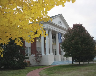 In fall, a ginkgo spins gold near Monroe Hall. (Photo by Lynda Richardson '81)