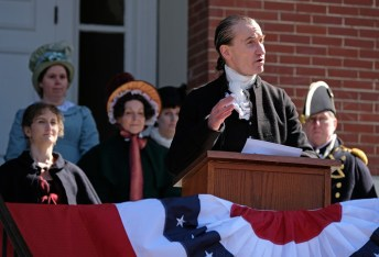 James Monroe (James G. Harrison III) delivers his inaugural address. (Photo by Norm Shafer)