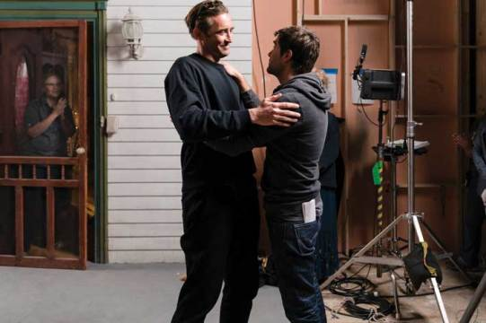 Lee Pace, who plays Joe MacMillan, reacts with Rogers after filming his final scene. Photo by Bob Mahoney/AMC.