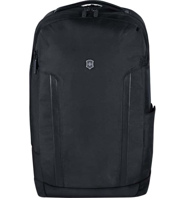 """VICTORINOX SWISS ARMY<SUP>®</SUP> Alpine Deluxe Travel Laptop Backpack, Main, color, BLACK SIZE INFO 18""""H x 11 ¾""""W x 10 ¼""""D. 2.3 lb. DETAILS & CARE Tough, water-resistant tech fabric means lasting appeal for this versatile backpack featuring a well-organized design to keep your essentials in order. A padded rear compartment easily fits both a 15"""" laptop and a tablet while the spacious main compartment with plenty of organization pockets means you don't have to leave anything behind.  Top zip closure TSA-approved combination lock Top carry handle; paddled, adjustable shoulder straps Exterior padded compartment fits most 15"""" laptops; exterior zip pockets; adjustable side pocket Interior divider; interior zip and wall pockets Interior, removable organizer with pockets and slots Water-resistant 1680-denier shell 100% polyester Imported Item #5852176 Free Shipping & Returns See more Alpine Deluxe Travel Laptop Backpack"""