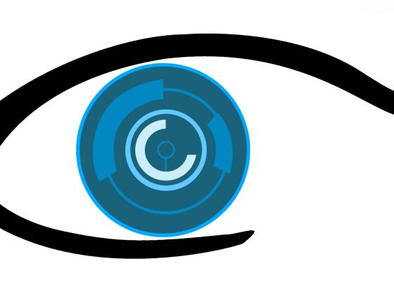 L'immagine raffigura un occhio stilizzato con tratti tecnologici nell'iride
