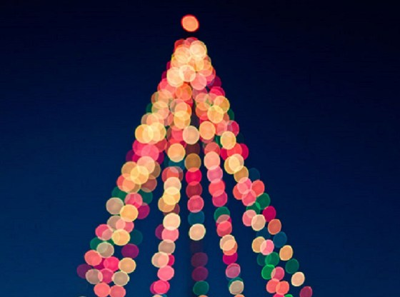 La foto mostra un albero di Natale visualizzato in modo sfocato