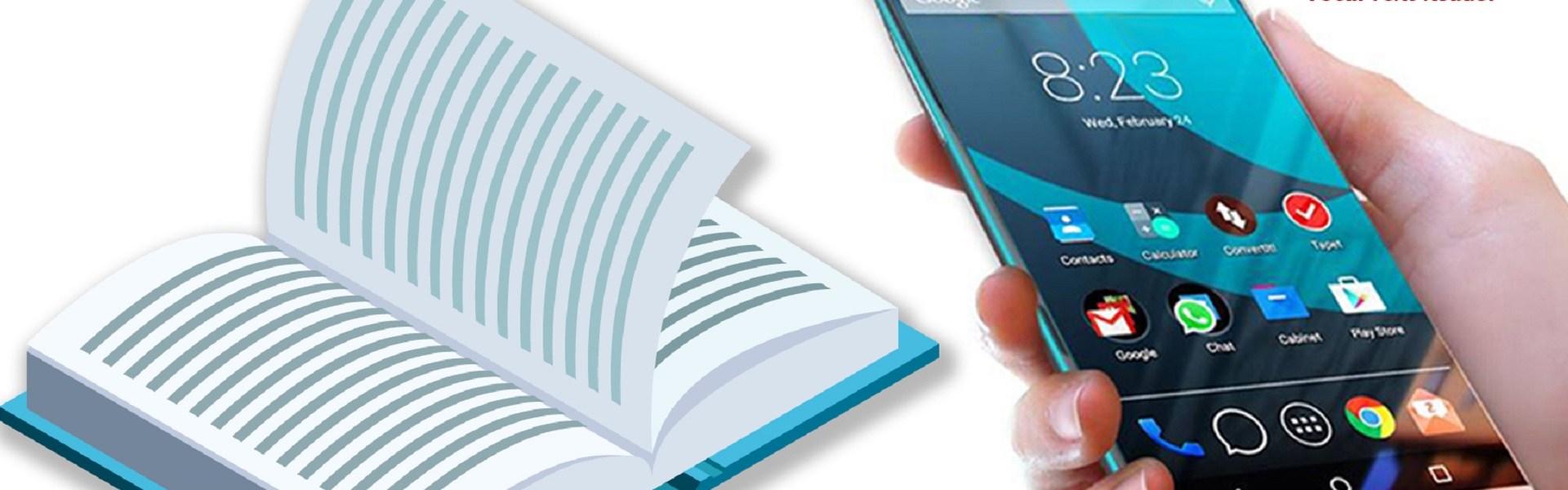 L'immagine mostra un esempio di utilizzo dell'app vEyes Vocal Text Reader