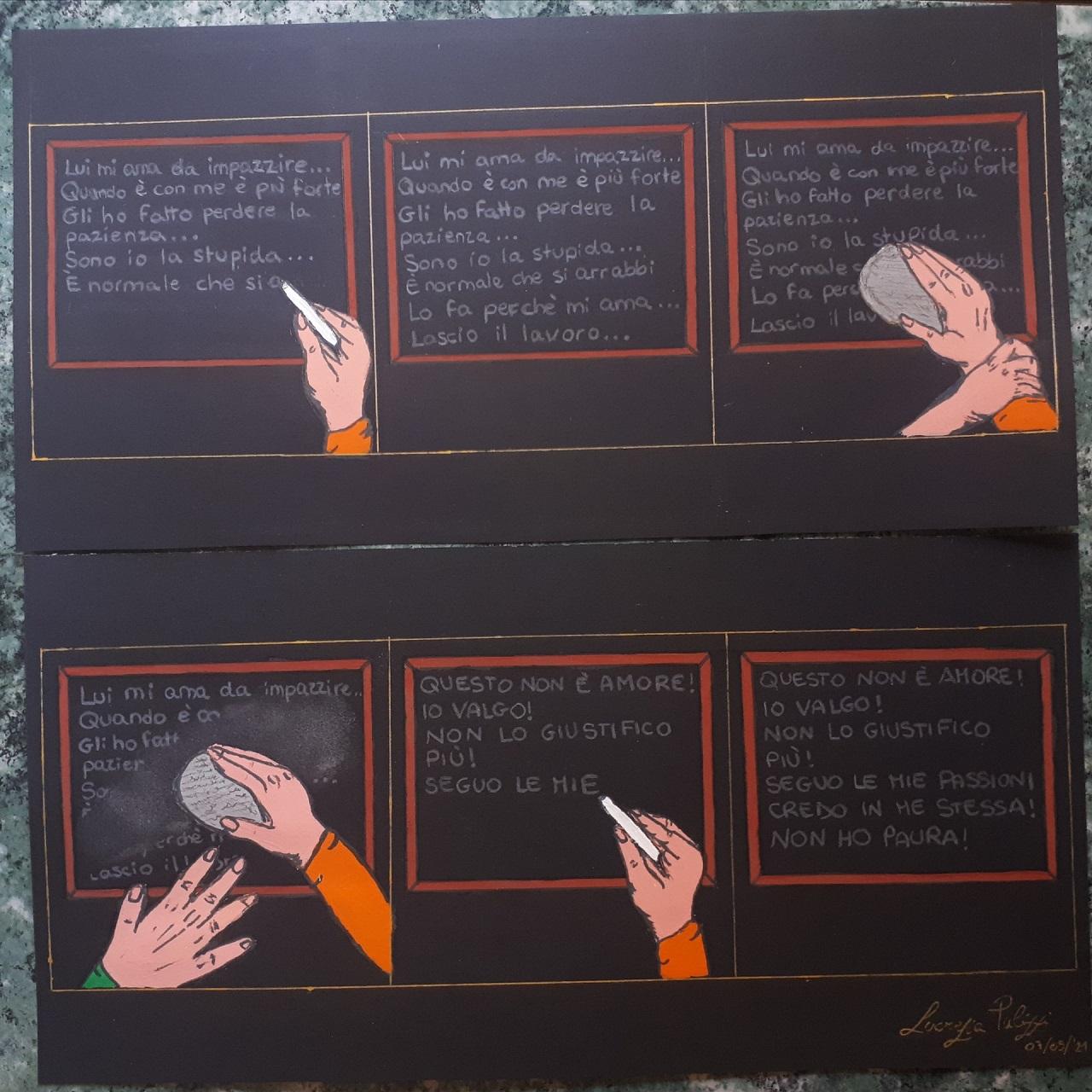 L'immagine mostra il disegno di Lucrezia Pulizzi riguardante la violenza sulle donne