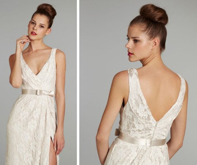 Peinado de novia con un chongo alto de moda en 2013 - Foto Jim Hjelm Blush