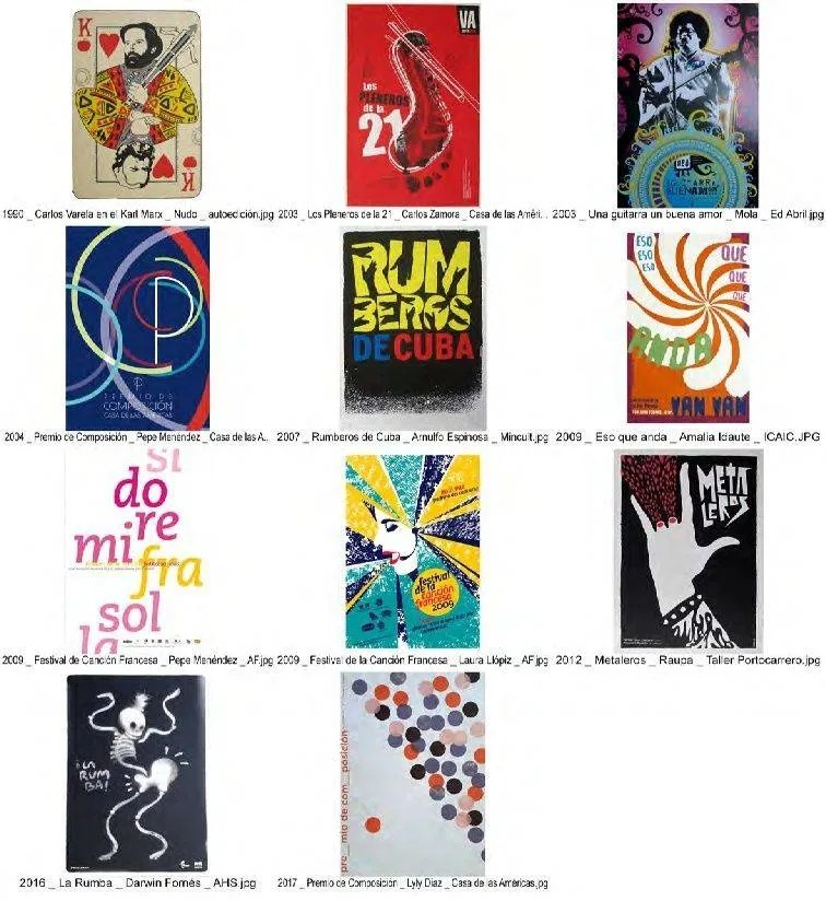 Some emblematic Cuban posters related to music. Photo: Courtesy of the author.