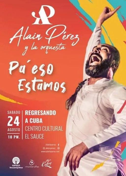 Flyer promocional del concierto de Alain Pérez en El Sauce.