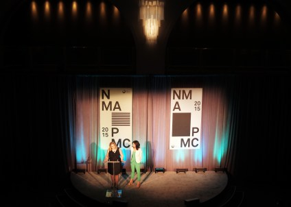 NMAF President Joyce Byrne and Readers Digest Editor Dominique Ritter on stage at the 2015 National Magazine Awards gala, designed by Monnet Design