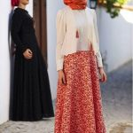 Hijab Look with Flare Skirt Outfit Fashion 2018 (14)
