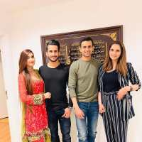 Cricketer Hassan Ali with his Wife at Shoaib Malik and Sania Mirza House in Dubai