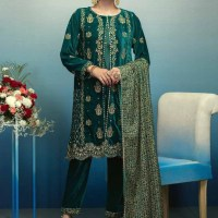 Awesome Bonanza Satrangi Winter Velvet Dresses Look 2020