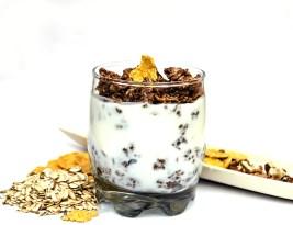Iaurt Cremos si Granola cu Ciocolata (fara Coacere)/ Creamy yogurt with Chocolate Granola (No Bake)