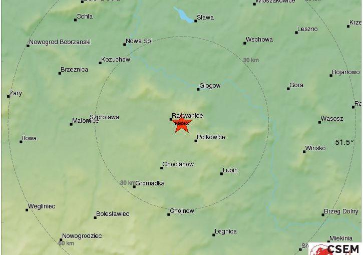 Bardzo silny wstrząs w rejonie Polkowic