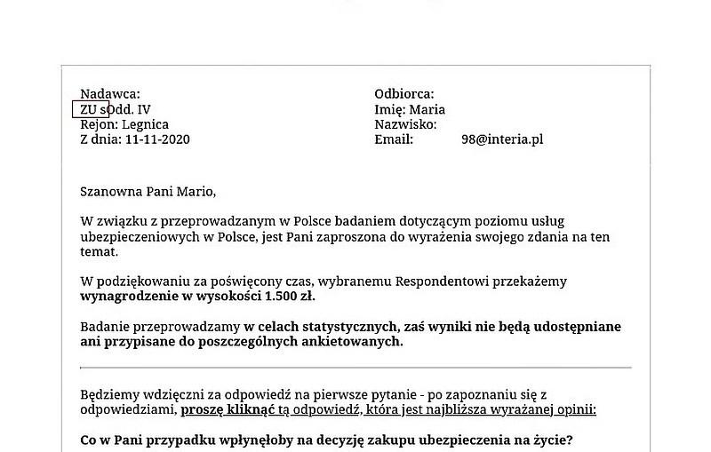 Oszustwo na mail ZUS z ofertą nagrody