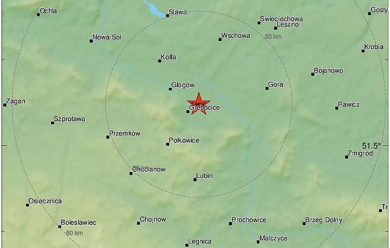 Silny wstrząs w pobliżu Głogowa