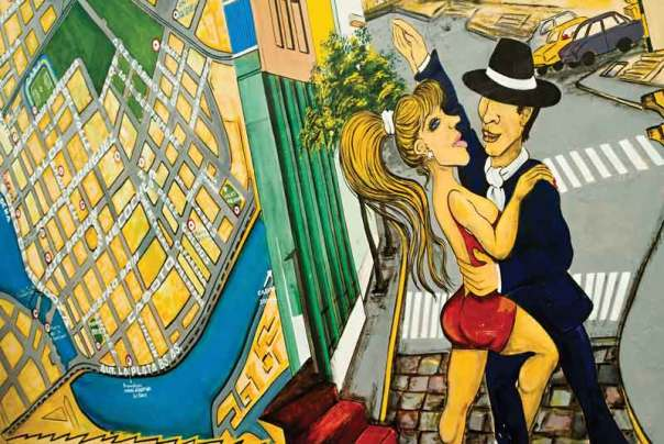 "Graffiti of tango dancers in ""la boca"" district of buenos aires"
