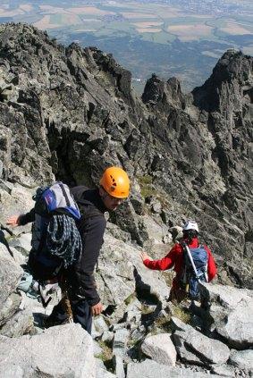 Zejście ze szczytu Gerlachu do Batyżowieckiego Żlebu. Wycieczka na Gerlach, 1 sierpnia 2015, fot. Paweł Wroński