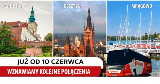 Polonus wznawia 3 kolejne linie do Olsztyna, Grudziądza i Mrągowa przed długim weekendem czerwcowym!