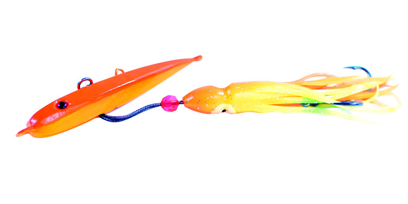 Orange Jig with Squid Skirt