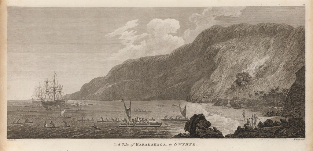 """Ilustracja zksiążki Johna Webbera, angielskiego artysty, którybrał udział wwyprawach Kapitana Cooka. """"Owyhee"""" tojedna zówczesnych nazw Hawajów wśród cudzoziemców."""