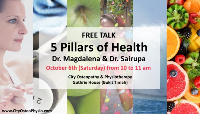 Free Talk: 5 Pillars of health at City Osteopathy & Physiotherapy.