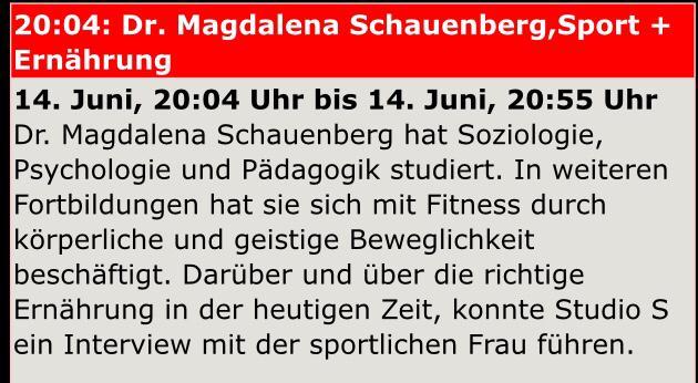 Radio Interview mit Dr. Magdalena Schauenberg