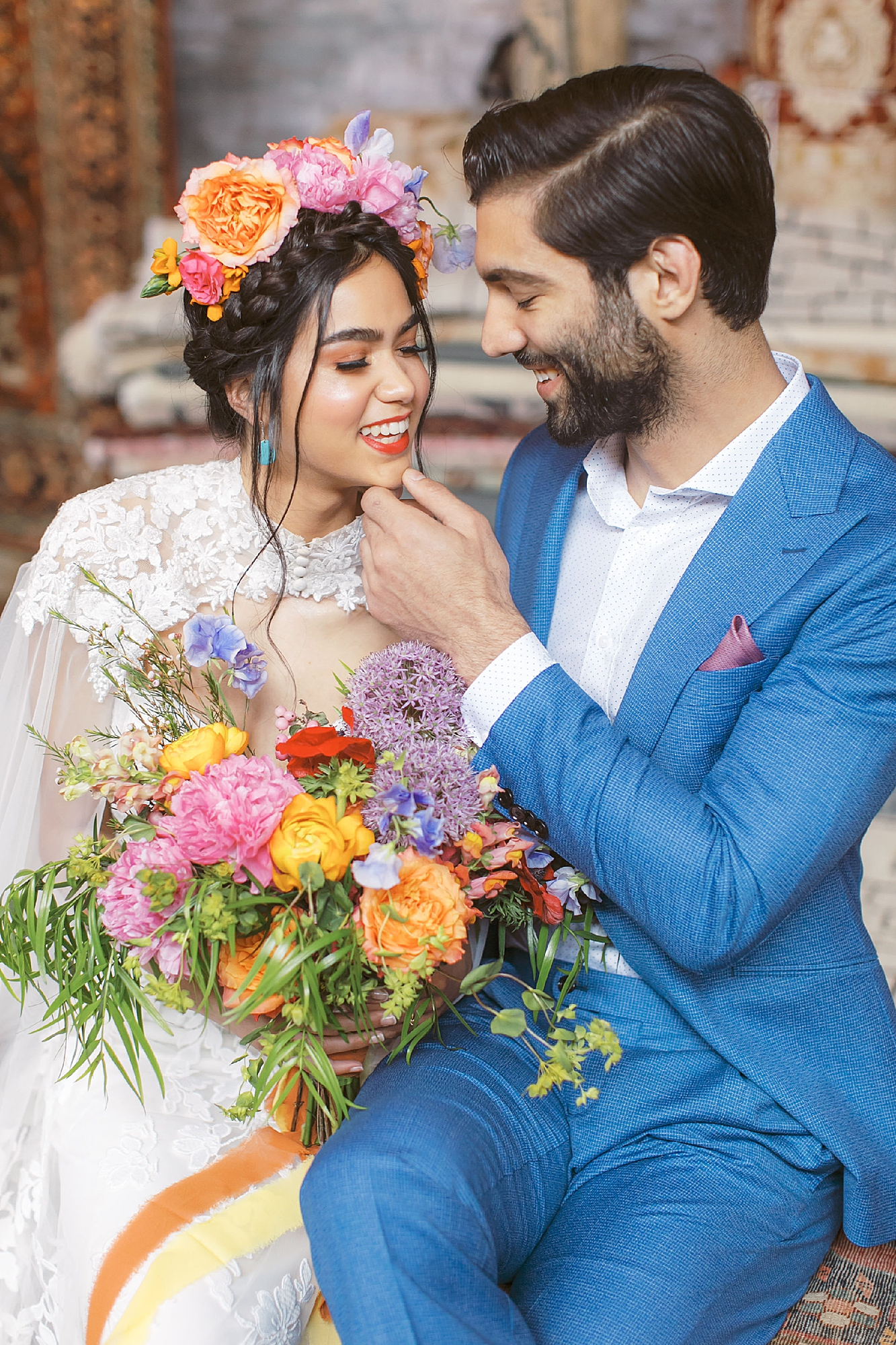 Vibrant and Colorful Frida Kahlo Inspired Wedding Photography by Magdalena Studios 0021