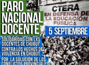CTERA y Suteba paran este jueves en repudio a agresiones en Chubut