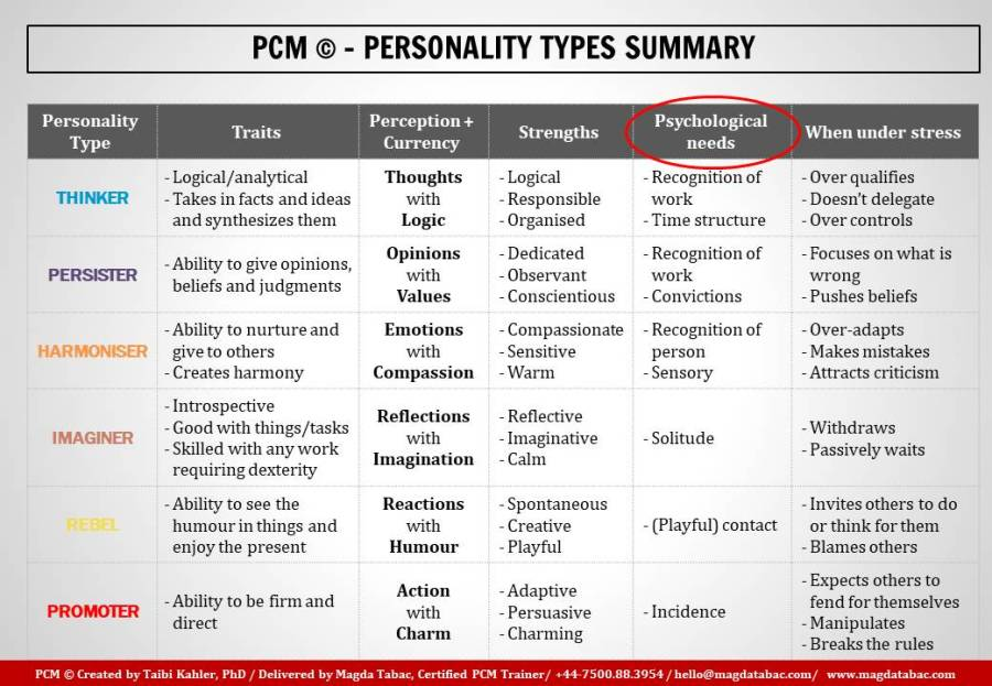 Summary slides PCM Magda Tabac - This is how you can use Process Communication Model (PCM) to better motivate your teams